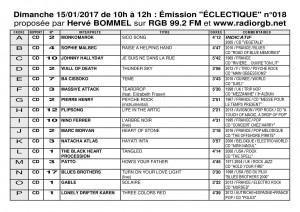 Playlist ECLECTIQUE n°018 du 15 01 2017 1