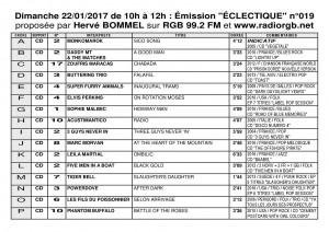 Playlist ECLECTIQUE n°019 du 22 01 2017 1