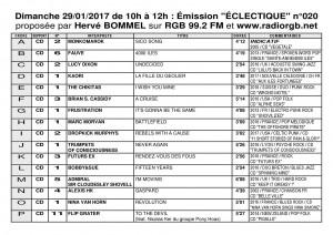 Playlist ECLECTIQUE n°020 du 29 01 2017 1