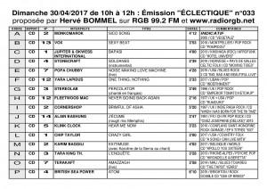 Playlist ECLECTIQUE n°033 du 30 04 2017 1