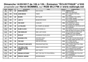 Playlist ECLECTIQUE n°035 du 14 05 2017 1